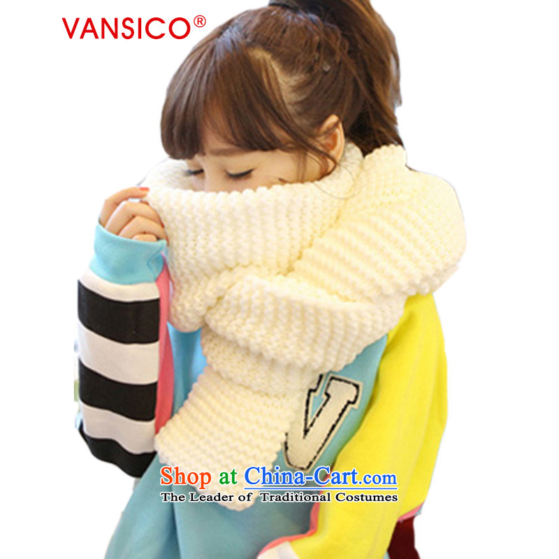 The end of the scarf female Korean VANSICO autumn and winter pure color moire scurf thread hairs Knitting scarves female couple handkerchief Ms. also autumn and winter Korean wave of students - White