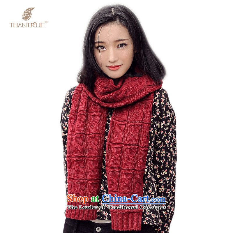 Really sweet style thantrue Knitting scarves women autumn and winter knitting a warm W050 wine red