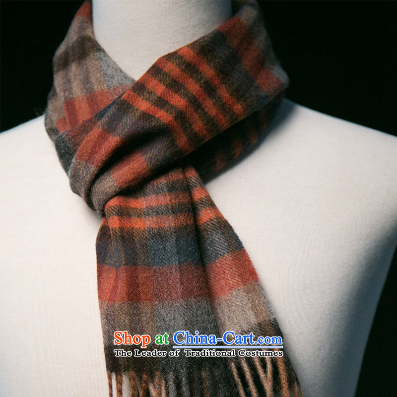 Arctic lint-free Pure Wool scarf ripple grid Ms. Qiu warm winter thick, rust red.