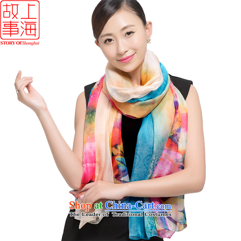Shanghai Story2015 sunscreen silk scarf large shawl dulls beach towel leisure chiffon scarf female seem178044Blue and Yellow