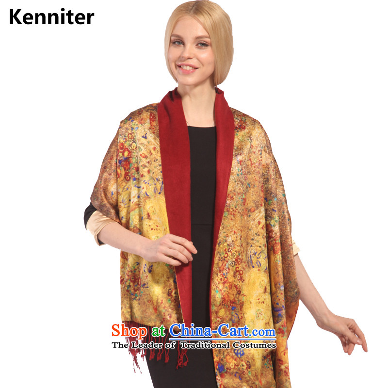 The Annette _kenniter_ classic and elegant digital inkjet flowers scarf double silky texture elegant shawl sj557 the twilight of the Gods - Gold