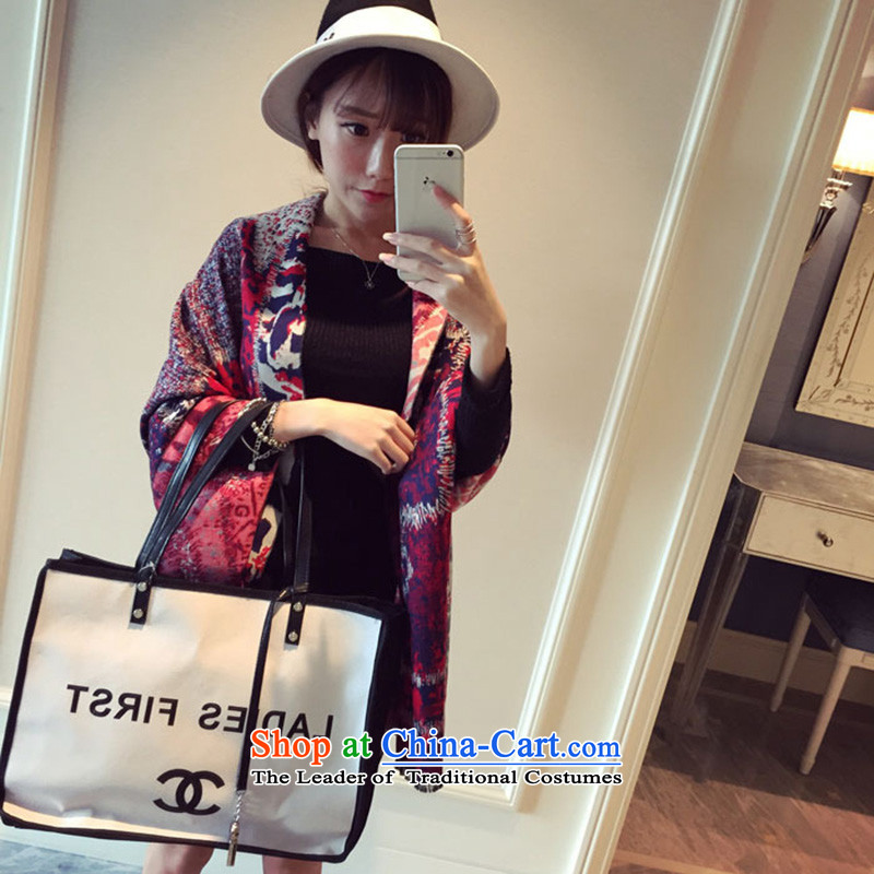 2015 Autumn and winter new stylish Cashmere scarf Ms. emulation comfortable air-conditioned warranty heating quality stars graffiti oversized shawl two red