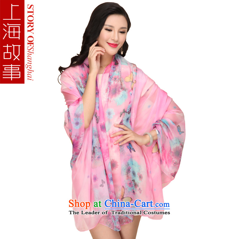 Shanghai Story Emulation Ms. silk scarf snow spinning scarf fourth quarter air-conditioned shawl beach sunscreen masks in the Butterfly Dance fly flower Pink