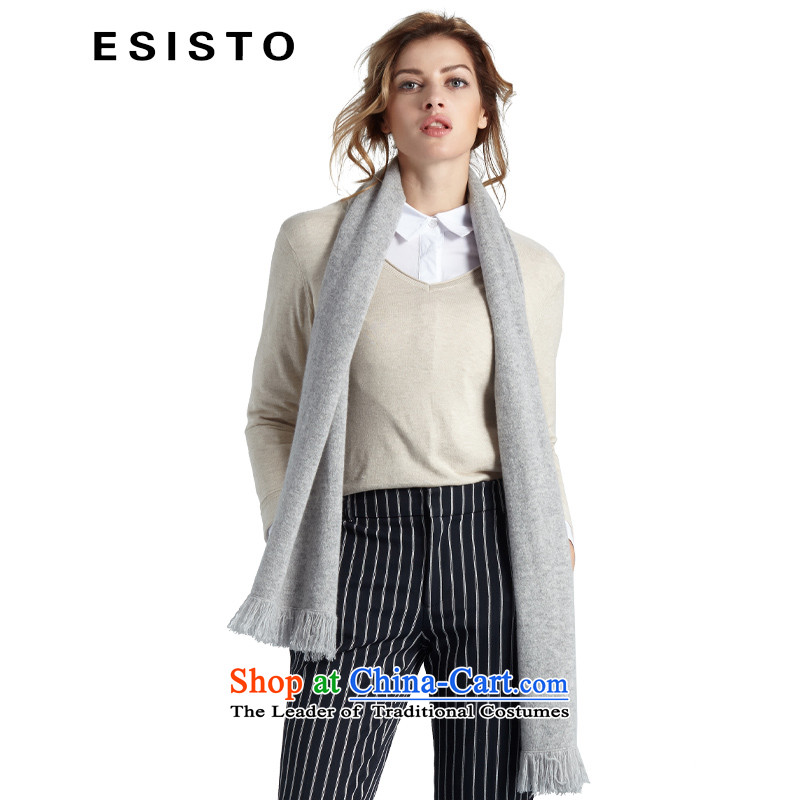 Europe and the solid color ESISTO pure Cashmere scarf autumn and winter flow Ms. Su 151024 /pashmina shawl on 14 Slate Gray