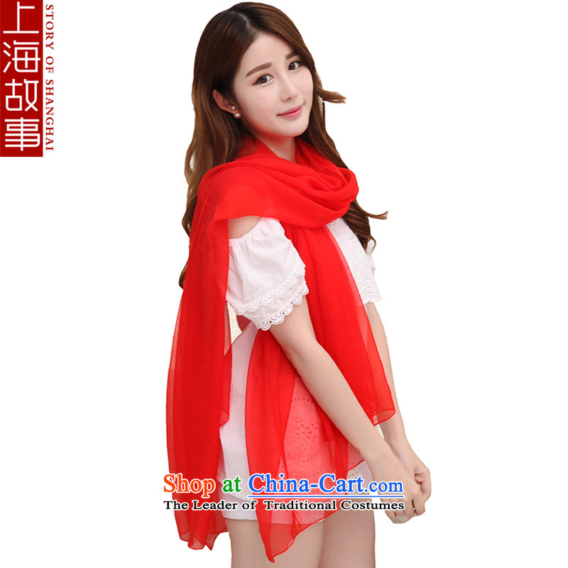 Shanghai Story silk scarves solid color herbs extract shawl scarf female autumn and winter warm-ups. A large red