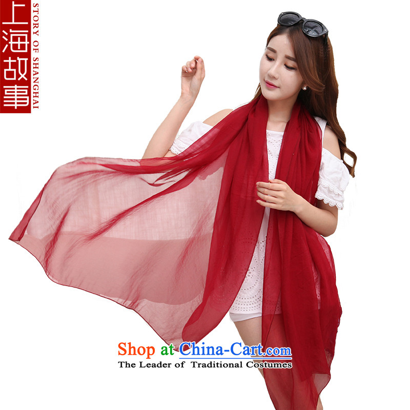 Shanghai Story Ms. silk scarf silk scarves sunscreen masks in beach towel solid color scarf female city the people of Goguryeo chestnut horses