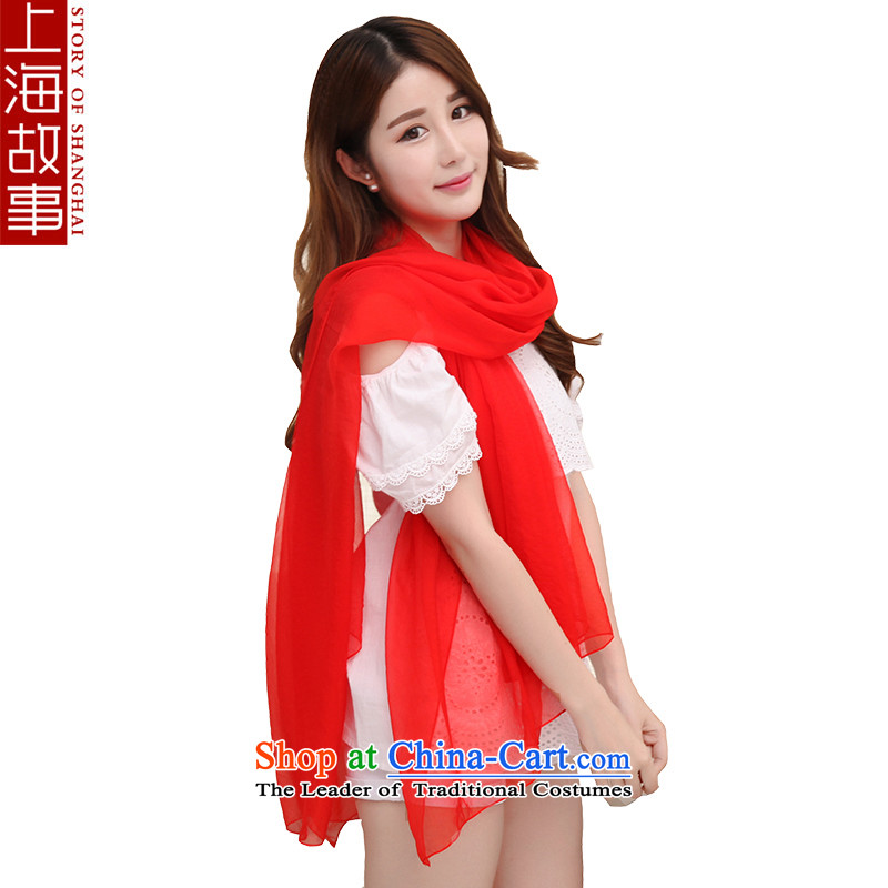 Shanghai Story silk scarves female sauna silk shawls pure color scarf female autumn and winter warm-ups. A large red