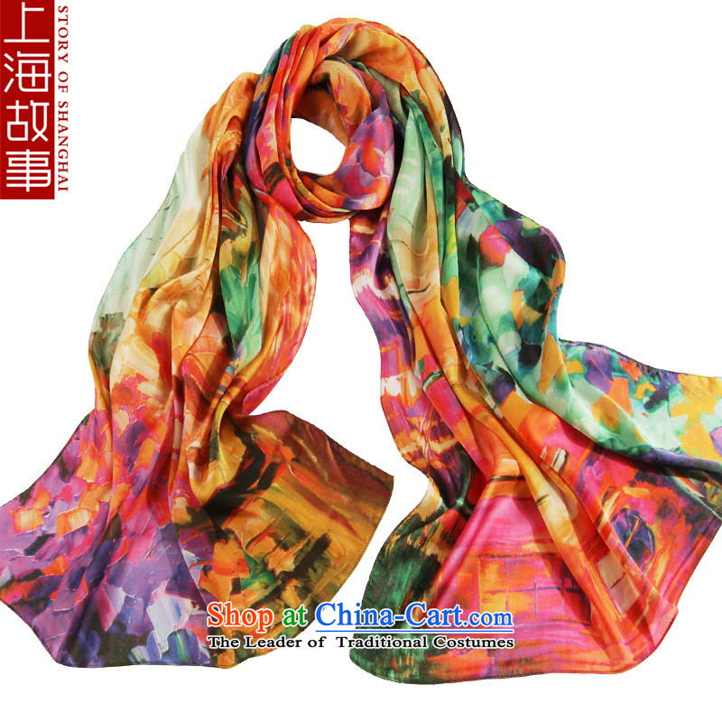 Shanghai Story silk scarf female scarf women cape oversized sunscreen silk scarf masks in happiness password Birch forest yellow