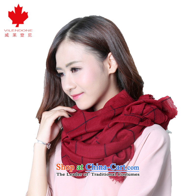 Verisign Leyden, cotton linen scarf female autumn and winter air conditioning shawl scarf Korean wild latticed white scarf hundreds under the contract wine red