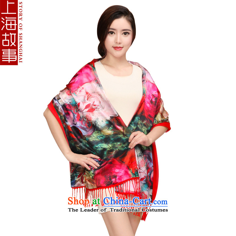 Shanghai Story silk scarf, autumn and winter new warm scarf thick double brushed wild shawl dream