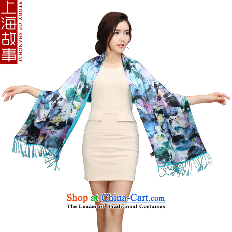 Shanghai Story silk scarf, autumn and winter new warm scarf thick double brushed wild shawl lotus