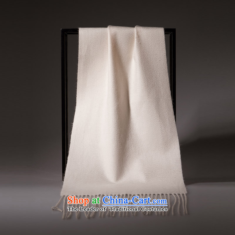 Hengyuan Ms. Cheung cashmere blending pure color scarf pure color autumn and winter warm thick, rice white