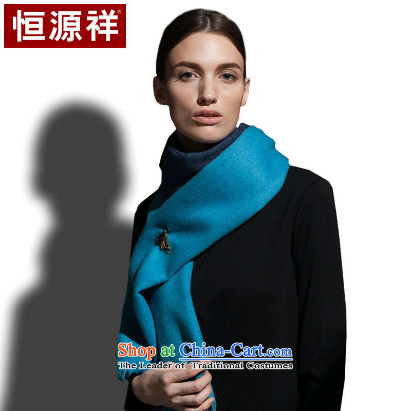 Hengyuan Cheung Cashmere wool blend yarn, double-sided scarf pure color autumn and winter warm thick blue, gray, (LAN)