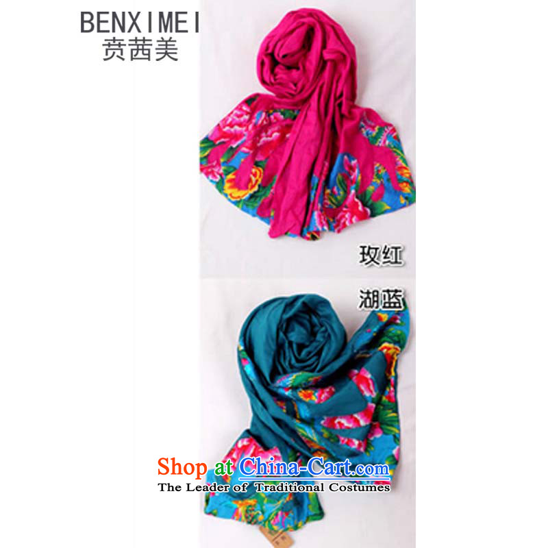 Mrs Ure US national wind ben female cotton linen cloth embroidered knocked color overlay cotton scarf8.928Lake blue are code