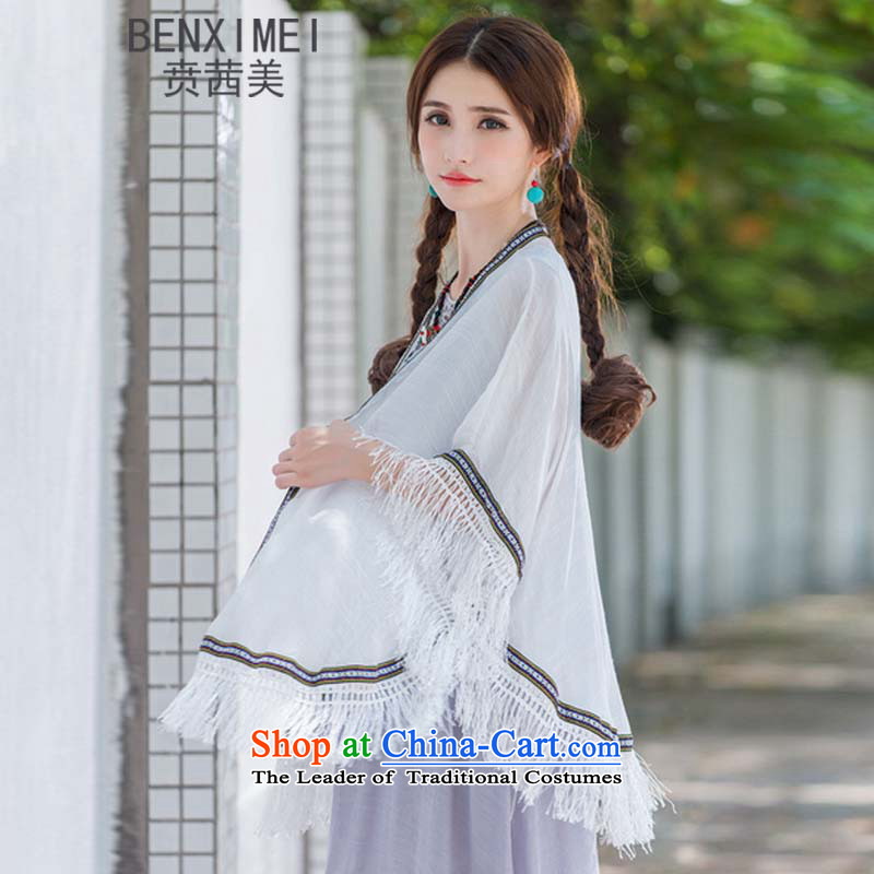Mrs Ure American 9314_ Ben new sum of arts van nation female wind cotton linen edging jacket loose large large white for both code