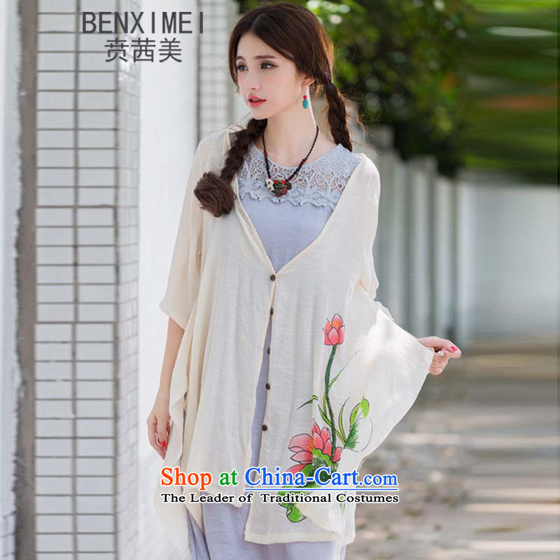 Mrs Ure American9313_ Ben new sum of arts van nation female wind cotton linen stamp sunscreen jacket loose large apricot color code for both large