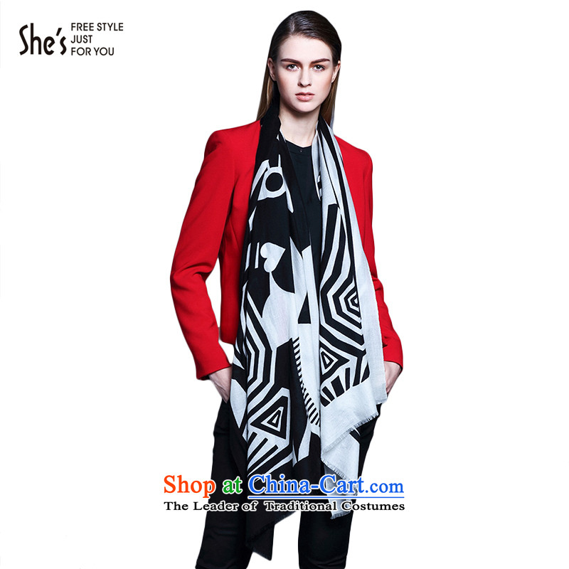 The end of the scarf geometry streaks she's Australia Pure Wool scarves stamp long-haired girlSSP95192064313G0