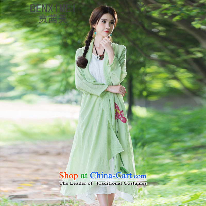 Mrs Ure American聽 9312_ Ben new sum of arts van nation female wind cotton linen stamp Long Neck Jacket relaxd flip green_jacket for larger are code