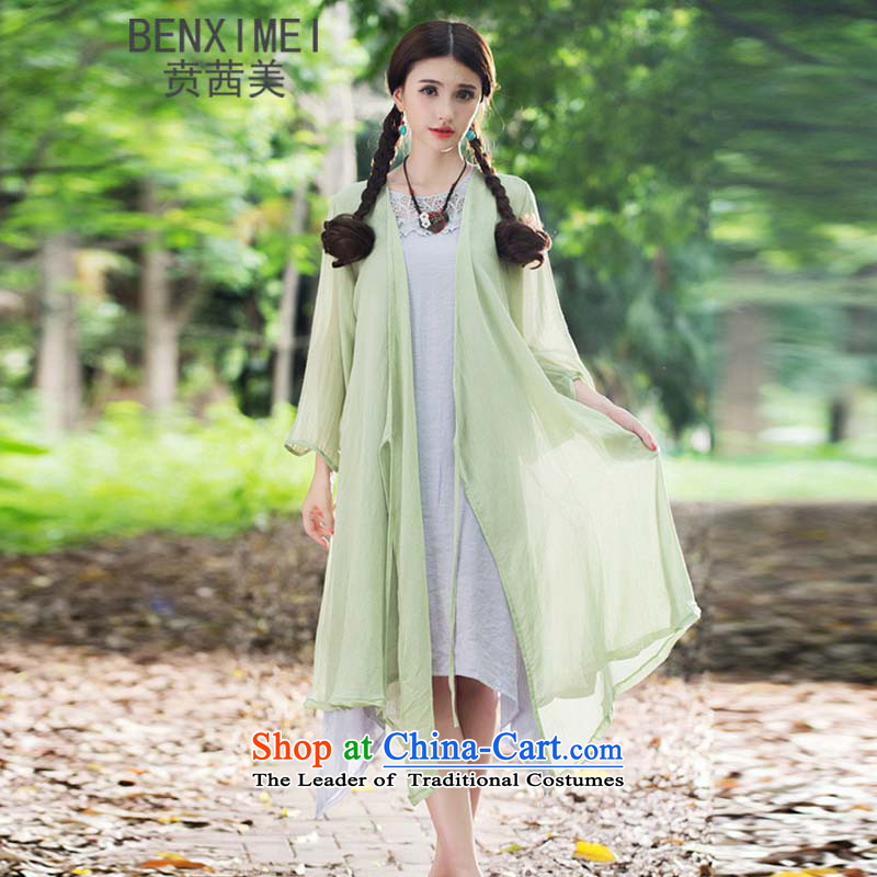 Mrs Ure American聽 9311_ Ben new sum of arts van nation female wind cotton linen stamp long jacket, loose large green_jacket for larger are code