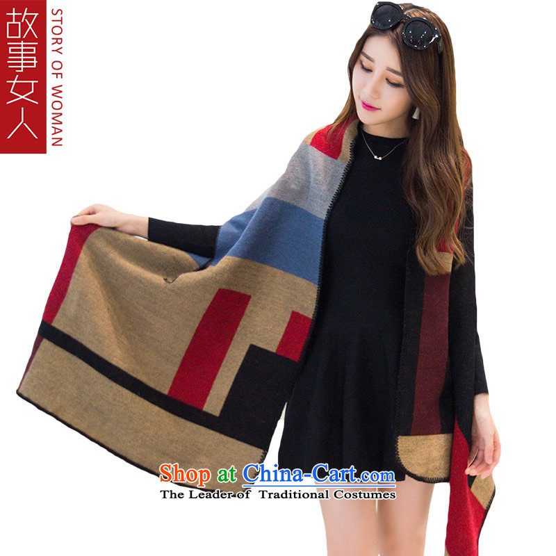 Story woman autumn and winter warm thick scarf female long be allowed to wear a shawl two simple grid card its red