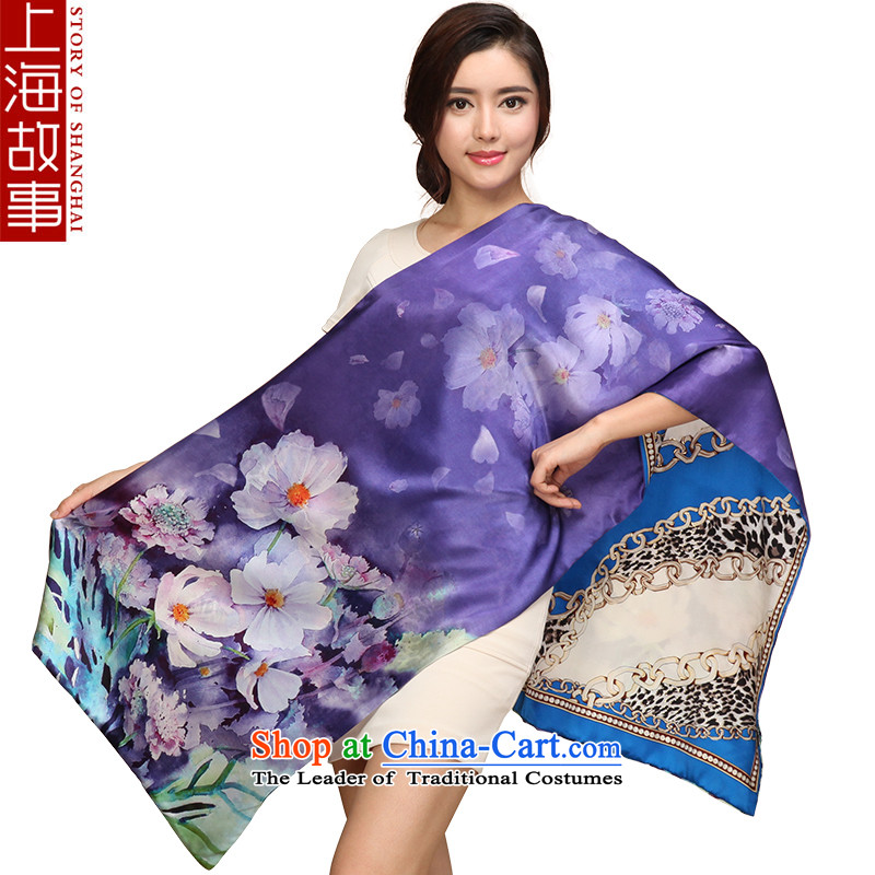 Shanghai Story silk scarves, scarf women shawl duplex silk scarfs picturesque Purple Rose