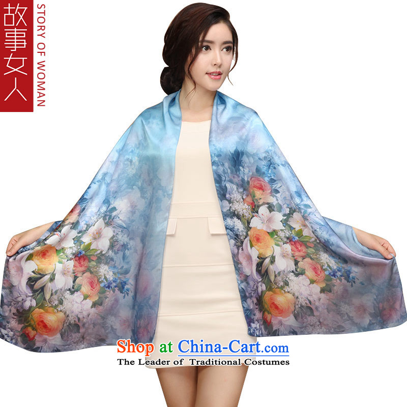 Story woman silk scarves, sauna also silk scarf shawl masks in the dumping of blue