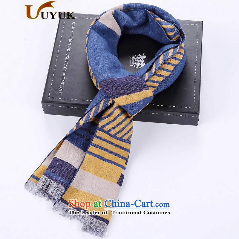 Men's stylish silk scarf 2015 autumn and winter gift box men scarf winter young woolen sweater,English style with a shawl long thick blue and yellow -K29