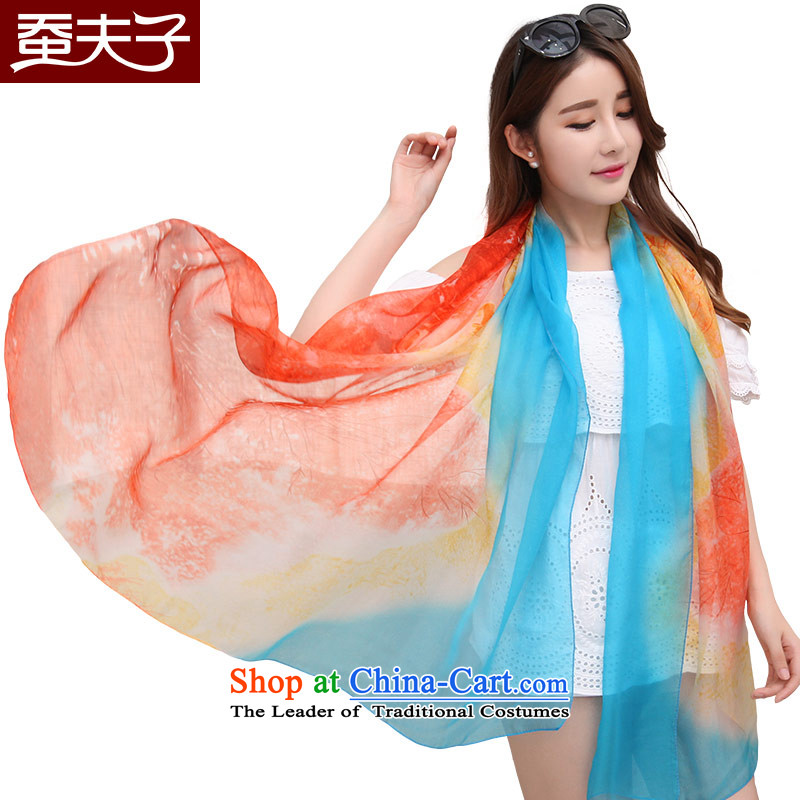 Also, teacher of silk scarves, autumn and winter herbs extract Fancy Scarf two print a Korean version of placing a minimalist wild and meticulous red, blue