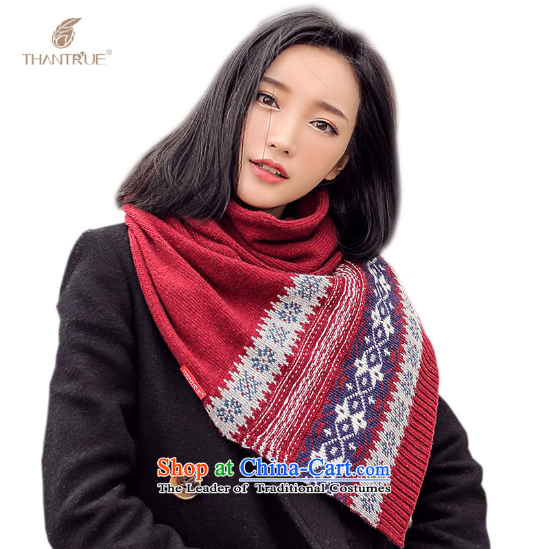 Really sweet style thantrue Knitting scarves autumn and winter Women warm colors a collision W052 wine red