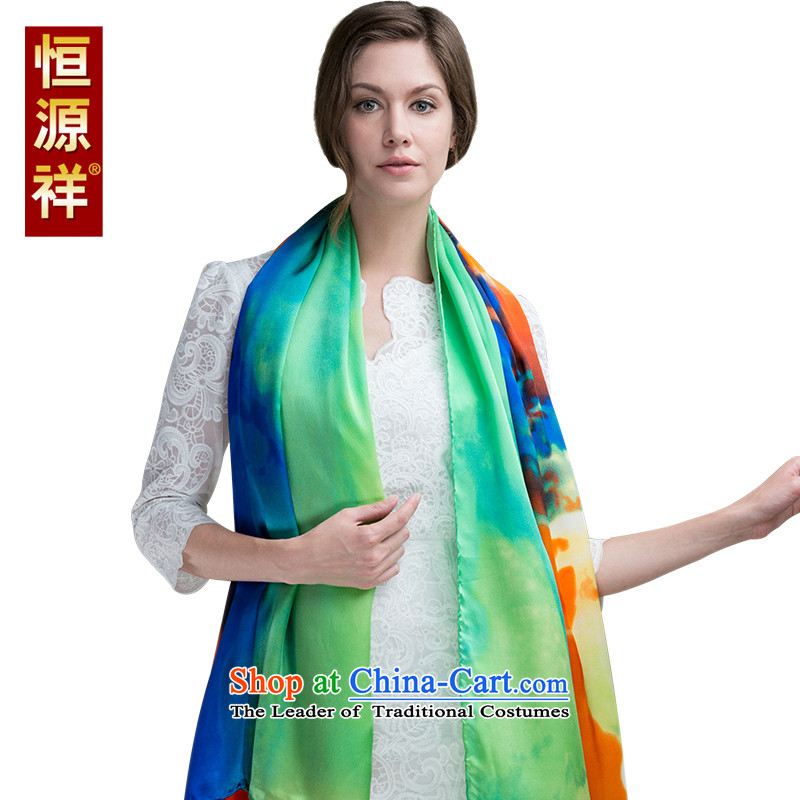 Hengyuan Cheung chiffon silk scarves western herbs extract Color Plane Collision scarf of autumn and winter long masks in large shawl480-1# 180*110cm