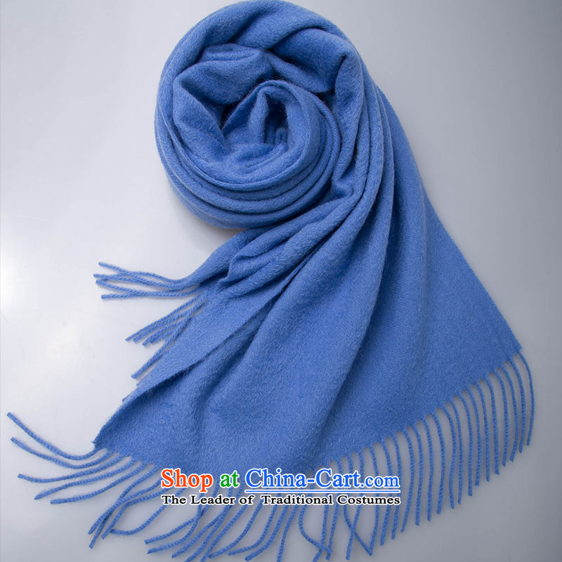 Hang Cheung wool blend yarn Ms. source scarf pure color autumn and winter warm thick blue _blue_