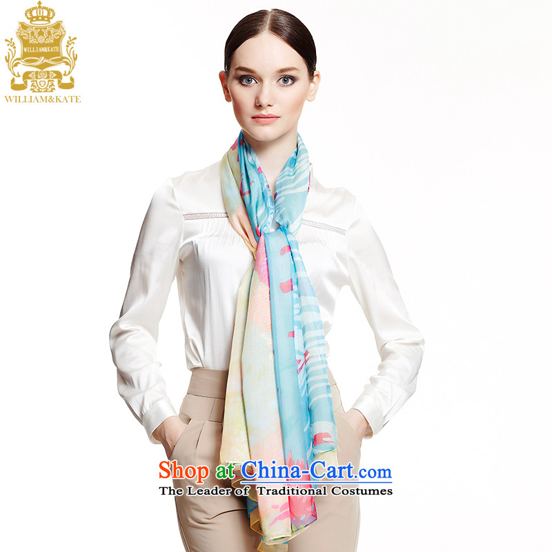 Williams _ Ms. Kate WILLIAM_KATE silk scarf oversized specifications knocked-color printing shawl beige WJ35401 blue