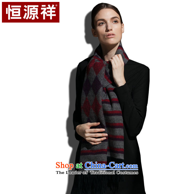 Hengyuan Cheung Pure Wool Jacquard Scarf, autumn and winter warm thick_ red and purple jacquard _magenta_