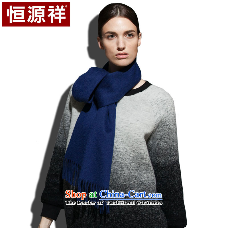 Hang Cheung Pure Wool scarves source, solid color water fall and winter warm thick blue (dark)