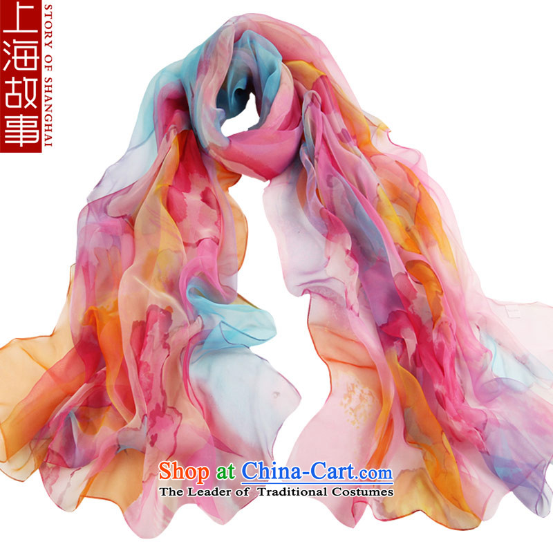 Shanghai Story Ms. silk scarf scarf gradient wild masks in the affection of the cape Pink