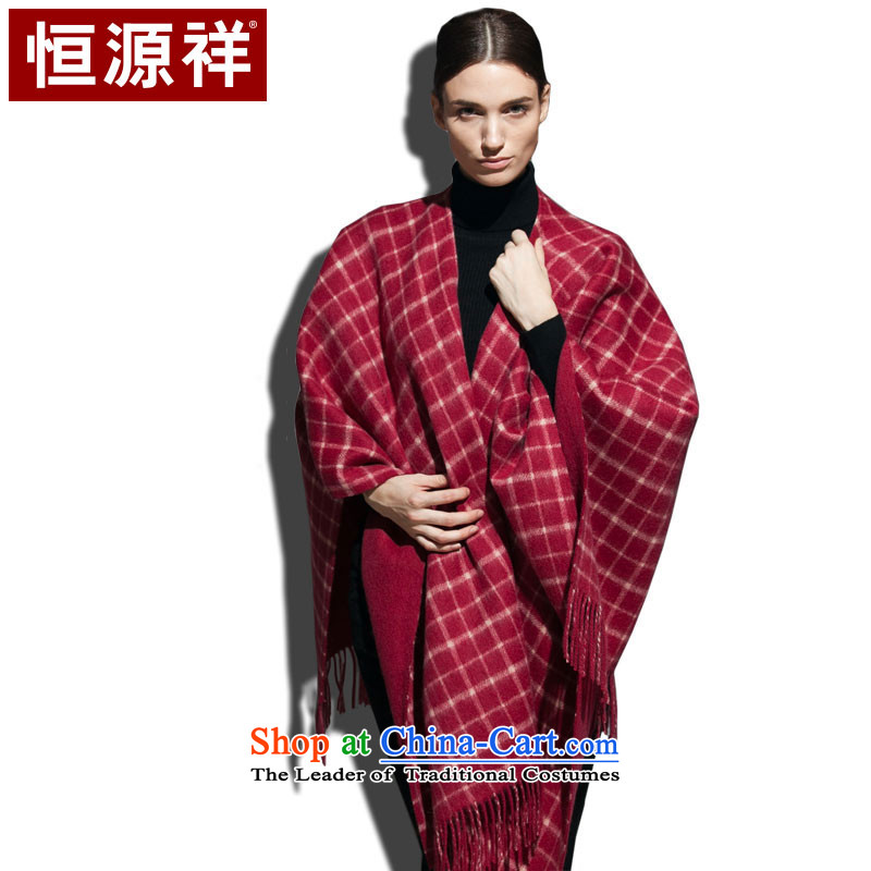 Hang Cheung Pure Wool source ripple duplex open large western grid autumn and winter shawl warm thick, Ms. Hung (Red)