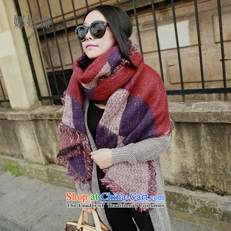 The fall in the straitjacket Tarja Halonen long stylish Fancy Scarf gross? thick latticed dark red