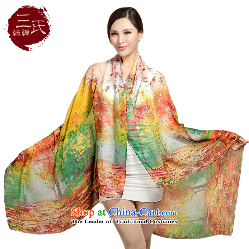 Three (Ms. silk scarf scarves spinning snow sauna silk scarf sunscreen women in accordance with the first shawl scarf air-conditioning s9115 Autumn maple leaf S9107 Lily