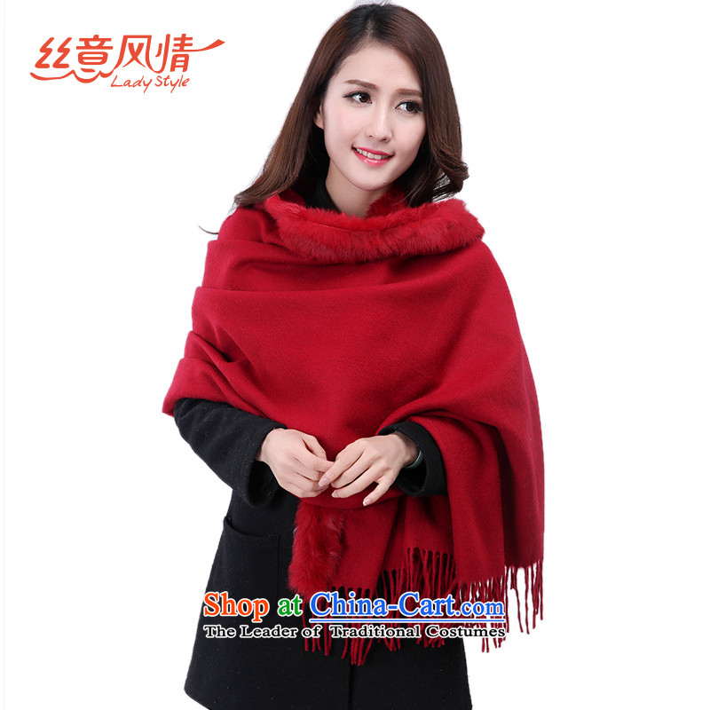 The population to feel the warm fur scarf of autumn and winter, rabbit hair for Edge Thick Long wool large shawl wine red