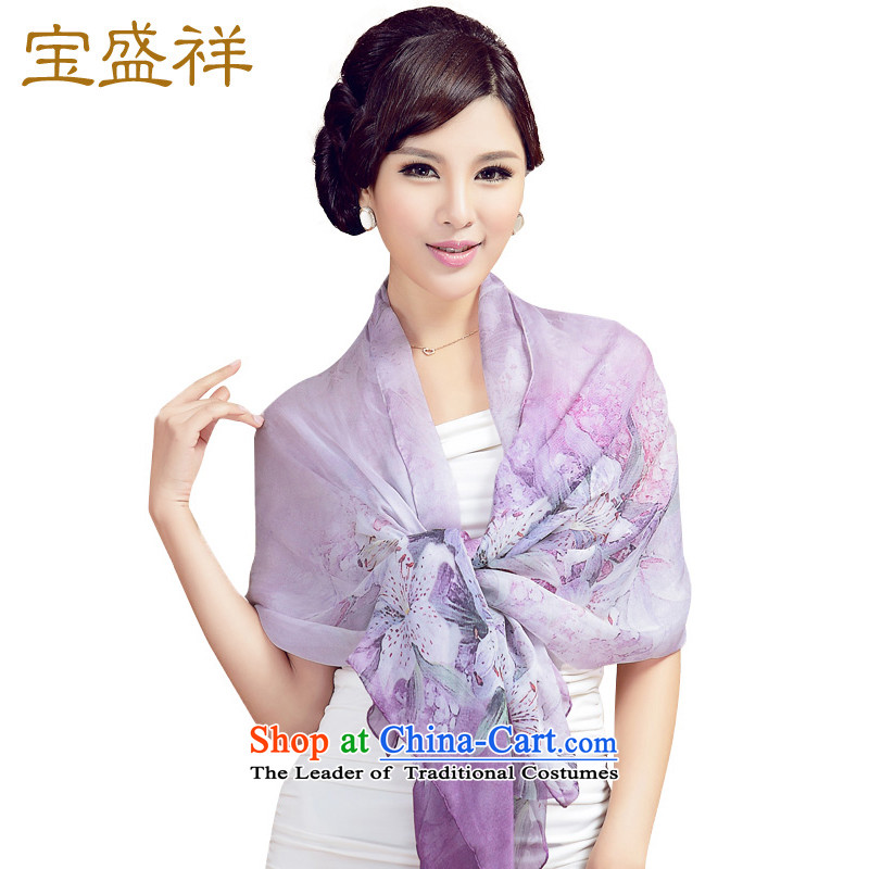 Blossom Cheung聽2015 silk scarves new scarves, Lily stamp silk long towel sunscreen silk scarf by Lily s9115 Purple