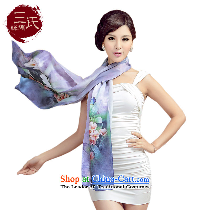 Three (silk scarf herbs extract silk satin digital printing Ms. Long Fancy Scarf silk sunscreen silk scarf long towel Sleek and versatile, noble and elegant S9504