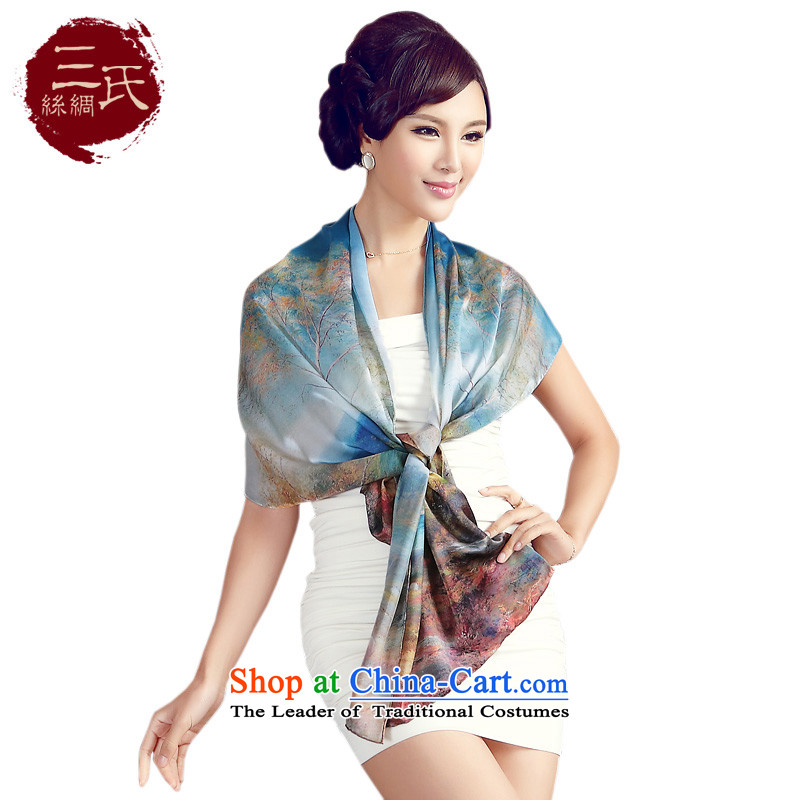 Three (silk scarf herbs extract silk satin digital printing Ms. Long Fancy Scarf silk sunscreen silk scarf long towel Sleek and versatile, s9508