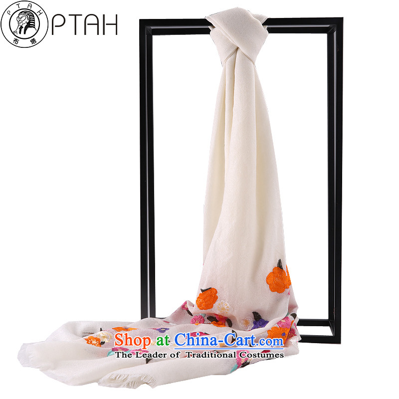 In the autumn and winter scarf female thick solid color embroidery flowers scarves edge must be warm Pure wool a shawl two white