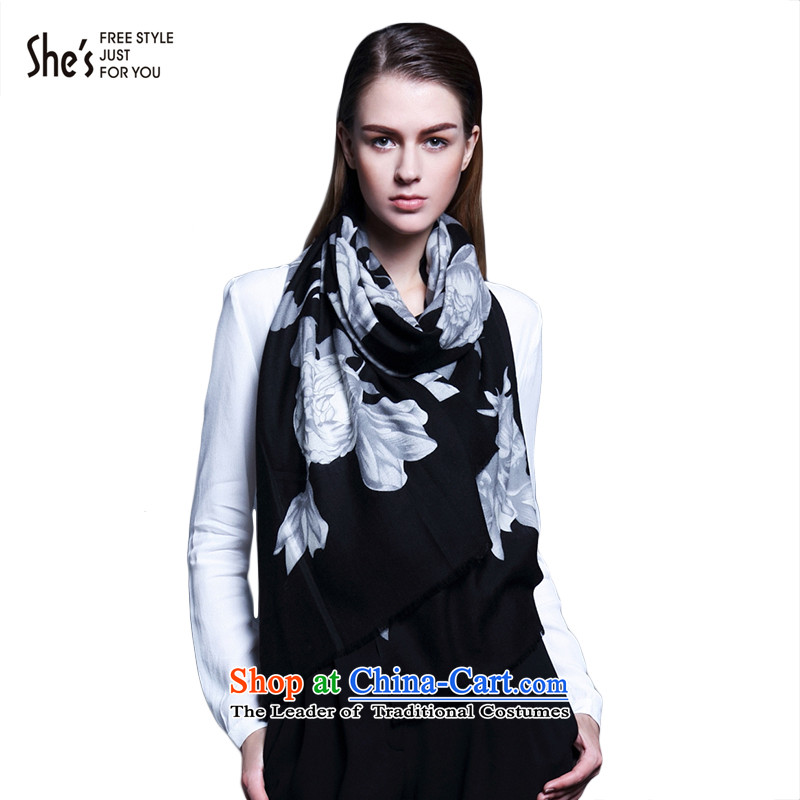 The end of the scarf ELEGANT ACCESSORIES she's largest printed wooler scarf SSP9619093 G0