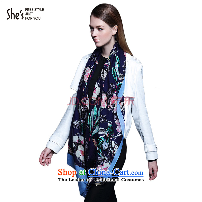 The end of the scarf accessories flowers she's stamp pro-skin care Ms. long wool scarfSSP9519209 plain C0