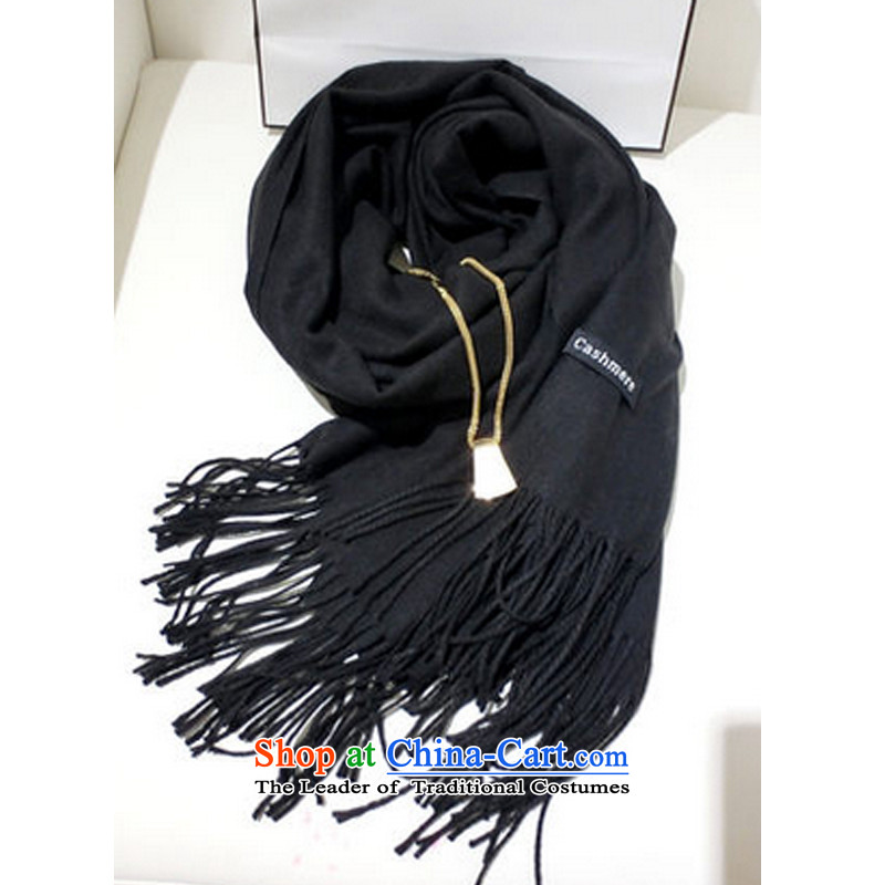 The Korean autumn and winter pure color flow so long men and women of the scarf taxi couples with Fancy Scarf spring to pull wool - Black