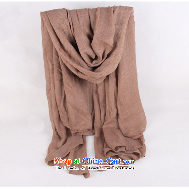 Pure color cotton linen Ms. Fancy Scarf long silk scarf Korean a coffee