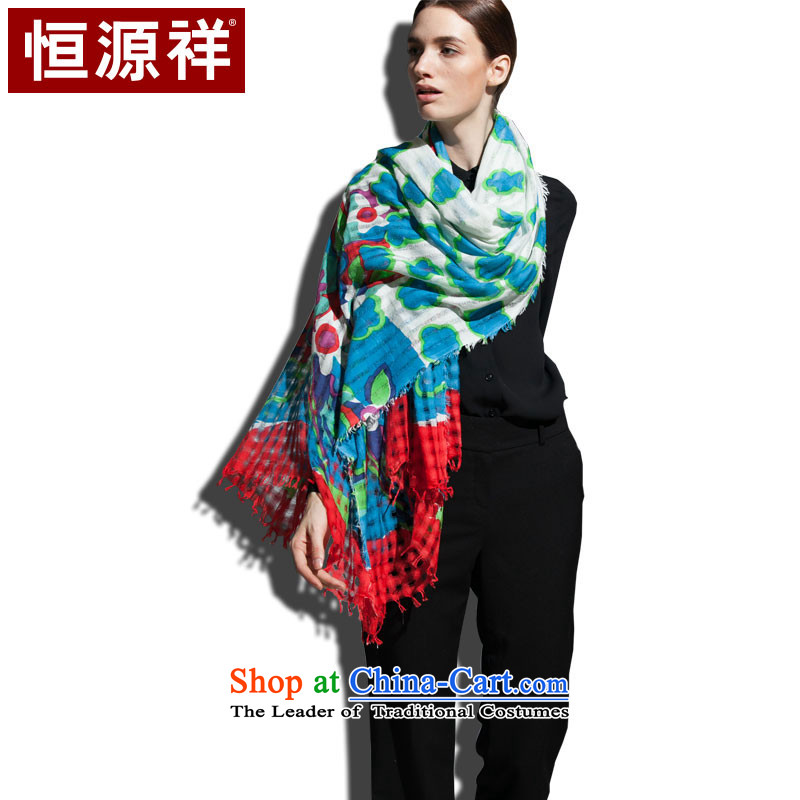 Hengyuan Cheung pure cotton worsted Ms. stamp and strategically placed ventilation scarves Sleek and versatile, red and green (red) Stamp duty