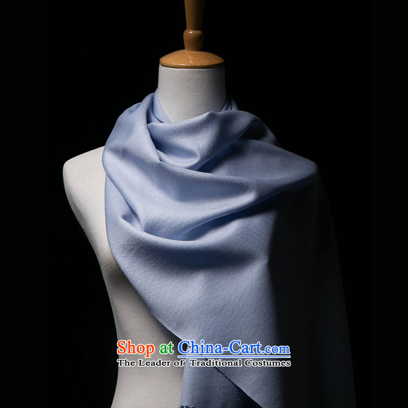 Hang Yuen Cheung-mercerized wool multimedia population scarf and strategically placed ventilation pure color, light blue (light blue)