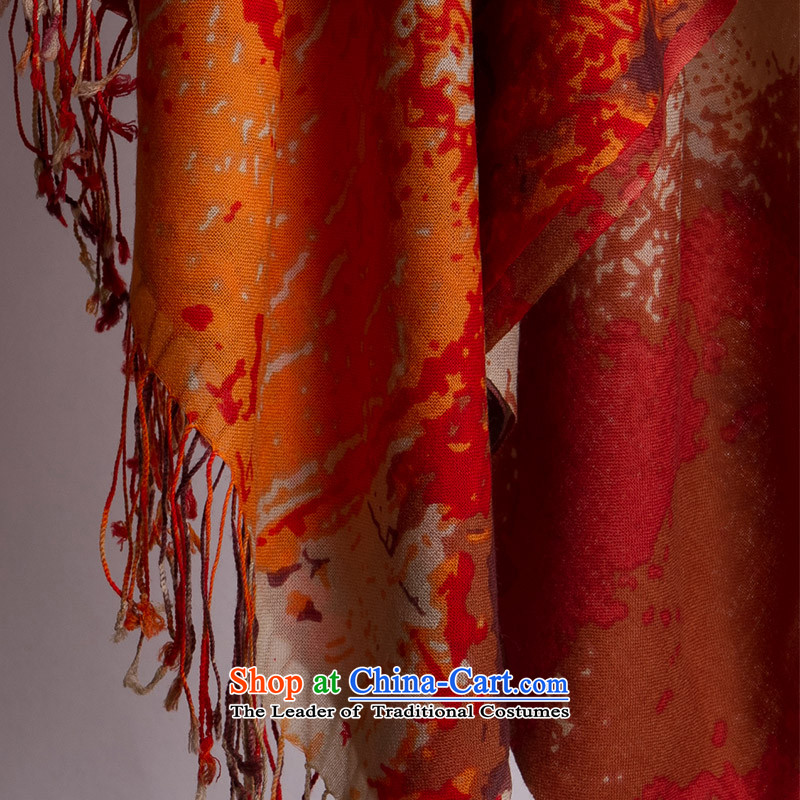 Hang Cheung Chin-spinning source Ms. wool stamp Fancy Scarf4313feels good drape better during the spring and autumn winter wild stylish warm red orange (dark orange)